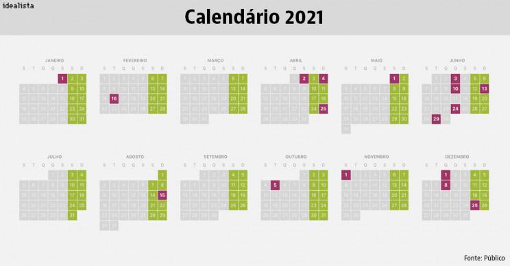 Calendário de 2021: feriados e pontes para começar a planear este ano